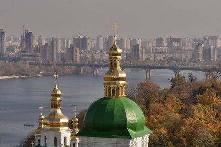 Kiev overview with Dnieper river, Paton bridge and Kiev Pechersk Lavra cupola. Stock Photo - 16509718