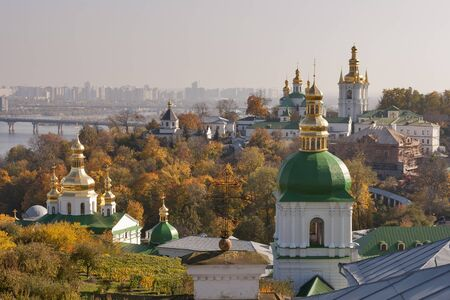 Kiev overview with Dnieper river, Paton bridge, Kiev Pechersk Lavra and Vydubichi monastery. Stock Photo - 16509729