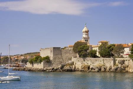 krk: Old town Krk, the historical seat of the Roman Catholic Diocese. Island Krk, Croatia. Stock Photo