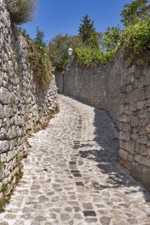 krk: Krk town medieval narrow street. Island Krk, Croatia.