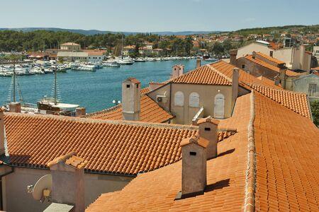 krk: Roofs of Krk town. Island Krk, Croatia. Stock Photo