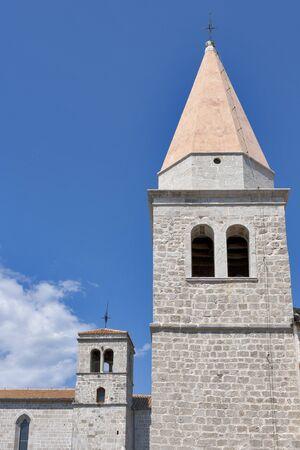 Towers of Franciscan Monastery in Krk town  Krk island, Croatia  Stock Photo - 16627078