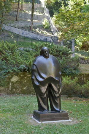 proclaimed: ZAGREB, CROATIA - AUGUST 21: Monument to Miroslav Krleza who often been proclaimed the greatest Croatian writer of the 20th century on August 21, 2012 in Zagreb, Croatia.