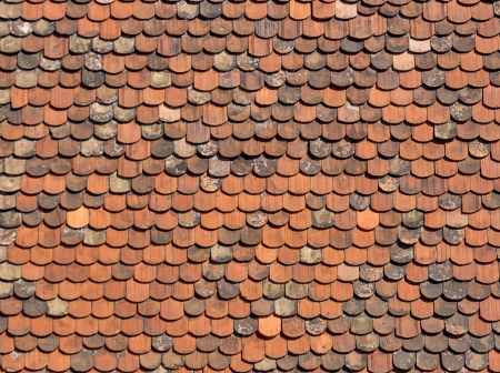 Old red brick roof tiles from Zagreb, Croatia. Archivio Fotografico