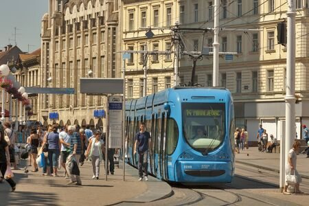 ZAGREB, CROATIA - AUGUST 21: People walk along Ban Jelacic Square, the central square of the city, and tram stop on August 21, 2012 in Zagreb, Croatia.  Stock Photo - 16919992