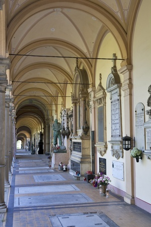 ZAGREB, CROATIA - AUGUST 21: Arcade of Mirogoj cemetery on August 21, 2012 in Zagreb, Croatia. It is the last resting places of many famous Croatians, was created in 1876.