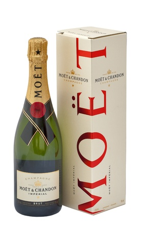 Kiev, Ukraine - May 06, 2012: Bottle of Moet & Chandon Imperial brut champagne against white background in Kiev, Ukraine. Moët et Chandon is one of the worlds largest champagne producers was established in 1743 by Claude Moët.