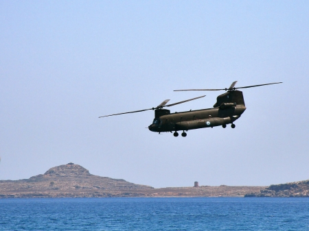 Chinook helicopter exercising manoeuvres on Rhodes, Greece.