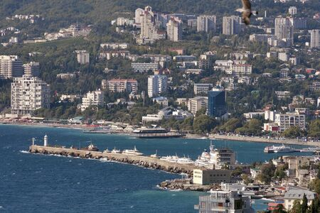 Yalta city and passenger port. Crimea, Ukraine. photo
