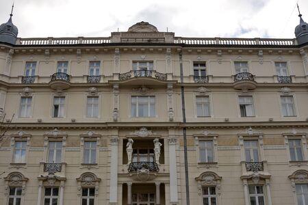 telamon: KARLOVY VARY, CZECH REPUBLIC - NOVEMBER 12: Facade of luxury spa GrandHotel Pupp on November 12, 2012 in Karlovy Vary, Czech Republic. It starts its history from 1701. The hotel hosts the annual Karlovy Vary International Film Festival.
