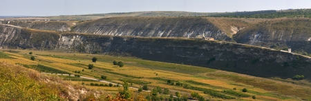 Panoramic view of valley with old Rupester Monastery in Orhei Vechi, Moldova.