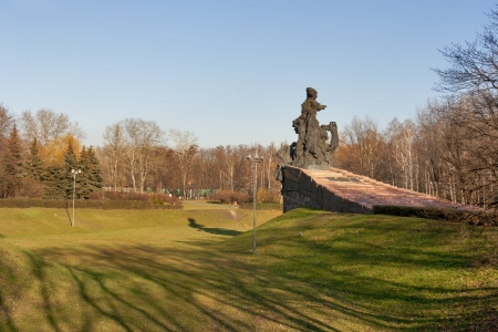Monument to the murdered ones in Babi Yar. Kiev, Ukraine. It is a site of series massacres carried out by the Nazis during the Second World War. Monument was erected in 1976. Stock Photo - 17949875