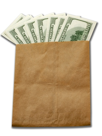 sates: money of USA in paper envelop isolated on white background Stock Photo