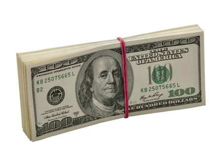 Ten thousand dollars in pack  Isolated on white background  photo