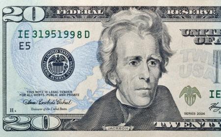 스물 종이 달러 지폐 매크로