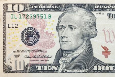 법안: 10 달러 지폐 조각 매크로 스톡 사진