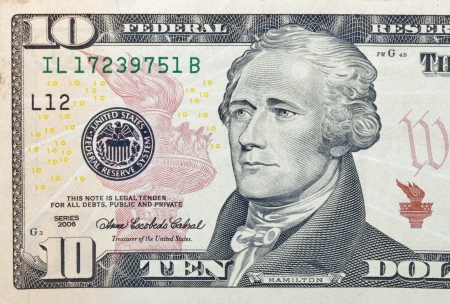 letra de cambio: Diez billete de un dólar fragmento macro Foto de archivo