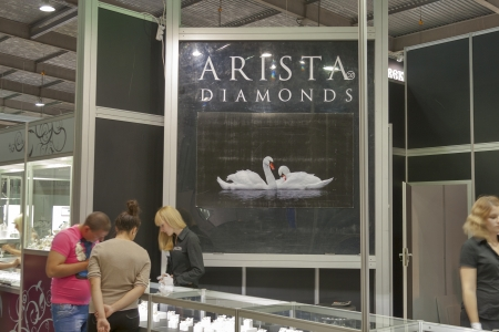 Kiev, Ukraine - May 16, 2012: Visitors visit Arista Diamonds Zaporizhzhya Jewelry Factory booth during Spring Jeweler Expo exhibition at KyivExpoPlaza Exhibition Center in Kiev, Ukraine.
