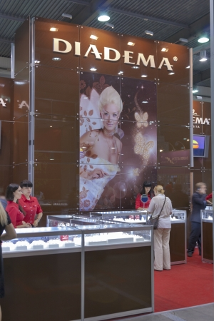 Kiev, Ukraine - May 16, 2012: Visitors visit Diadema Vinnitsa Jewelry Company booth during Spring Jeweler Expo exhibition at KyivExpoPlaza Exhibition Center in Kiev, Ukraine.