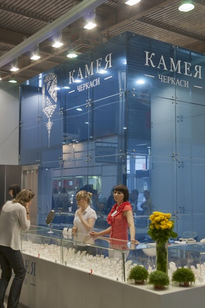 Kiev, Ukraine - May 16, 2012: Visitors visit Cameo Cherkasy Jewelry Factory (founded 2003) booth during Spring Jeweler Expo exhibition at KyivExpoPlaza Exhibition Center in Kiev, Ukraine.