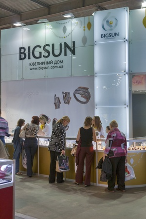 Kiev, Ukraine - May 16, 2012: Visitors visit Bigsun Silver Jewelry House from Bila Tserkva booth during Spring Jeweler Expo exhibition at KyivExpoPlaza Exhibition Center in Kiev, Ukraine.