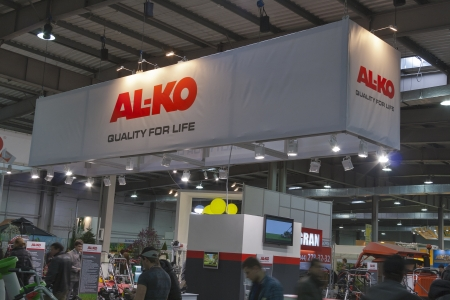 Kiev, Ukraine - March 30, 2012: Visitors visit AL-KO Germany company booth during 3rd International forum of building materials and technologies INTERBUDEXPO 2012 at KyivExpoPlaza Exhibition Center on March 30, 2012 in Kiev, Ukraine. Founded in 1931 by Al
