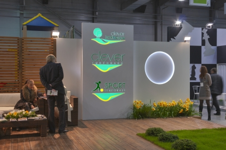 Kiev, Ukraine - March 30, 2012: Visitors visit Clever Landscape company founded 2004 booth during 3rd International forum of building materials and technologies INTERBUDEXPO 2012 at KyivExpoPlaza Exhibition Center on March 30, 2012 in Kiev, Ukraine.