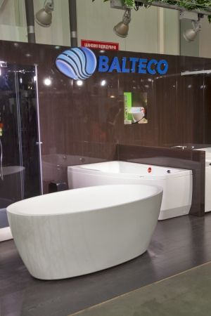 Kiev, Ukraine - March 30, 2012: Balteco Estonian hydromassage bath company founded 1990 booth during 3rd International forum of building materials and technologies INTERBUDEXPO 2012 at KyivExpoPlaza Exhibition Center on March 30, 2012 in Kiev, Ukraine.