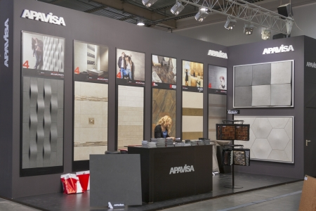 Kiev, Ukraine - March 30, 2012: Presenter work at Apavisa Spanish high-technical porcelain company booth during 3rd International forum of building materials and technologies INTERBUDEXPO 2012 at KyivExpoPlaza Exhibition Center on March 30, 2012 in Kiev,
