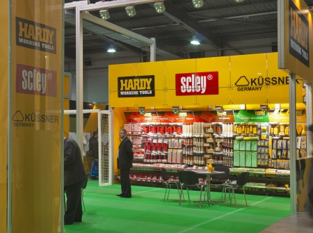 Kiev, Ukraine - March 30, 2012: Hardy, Scley and Kussner companies booth during 3rd International forum of building materials and technologies INTERBUDEXPO 2012 at KyivExpoPlaza Exhibition Center on March 30, 2012 in Kiev, Ukraine. Editoriali