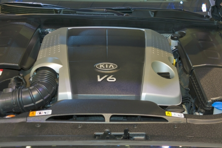 proceed: KIEV, UKRAINE - MAY 29: Engine V6 closeup of new Korean car model KIA Pro_Ceed at SIA 2013 The 21st Kyiv International Motor Show in International Exhibition Centre on May 29, 2013 in Kiev, Ukraine.