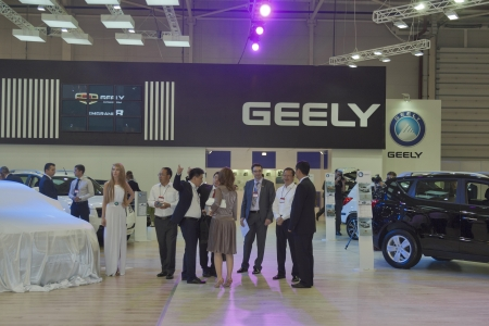 Delegation: KIEV, UKRAINE - MAY 29: Delegation of Chinese managers visit Geely booth on display of SIA 2013 The 21st Kyiv International Motor Show in International Exhibition Centre on May 29, 2013 in Kiev, Ukraine.