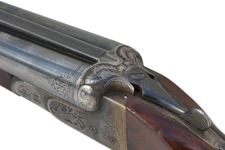 vintage rifle: Hunting vintage rifle isolated on white background Stock Photo