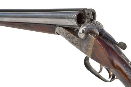 vintage rifle: hunting vintage rifle isolated on white background