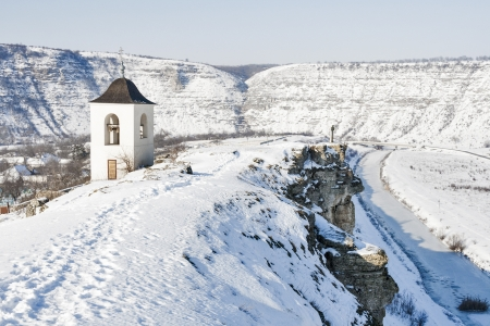 Winter Orhei Vechi Kloster Glockenturm in der Republik Moldau