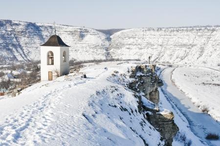 winter Orhei Vechi monastery bell tower in Moldova