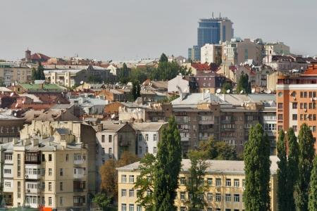 rustaveli: Kiev downtown cityscape. Shota Rustaveli Street. Ukraine capital.
