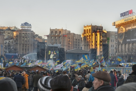 KIEV, UKRAINE - DECEMBER 14: Demonstrators protest on Independence Square EuroMaidan during peaceful actions against the Ukrainian president and government on December 14, 2013 in Kiev, Ukraine. The protests were provoked when the Ukrainian president deni Editorial