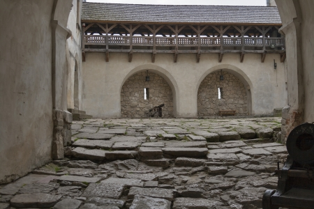 loopholes: Courtyard and loopholes of the ancient medieval castle