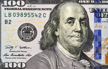 one dollar bill: Portrait of Benjamin Franklin from one hundred dollars bill new edition macro