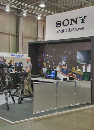 Visitors visit Sony TV equipment booth at  Kyiv International TV and Radio Fair 2013  It is the main business forum for professionals of Ukrainian media industry  Editoriali