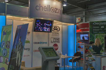 Chellozone global TV company booth at Kyiv International exhibition and conference in broadcast industry 2012 in Kiev, Ukraine. EEBC is the largest in Ukraine international exhibition and conference of broadcast industry.