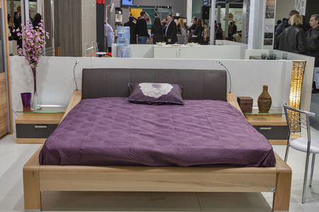 Visitors visit furniture companies boothes display at Kiev International Furniture Forum at Kyiv Expo Plaza Exhibition Center in Kiev, Ukraine