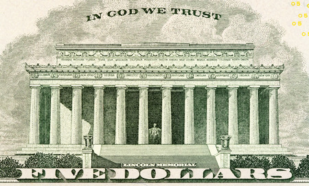 five dollar bill: Lincoln memorial on paper five dollars bill macro Stock Photo