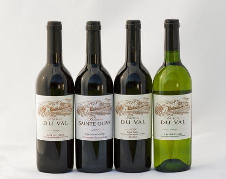 baron: KIEV, UKRAINE - APRIL 30, 2012: Set of Baron Du Val Pays French red and white wines bottles against white background.