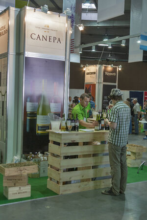 wino: People tasting wine at Canepa booth during the Ukrainian festival Polyana Wino Fest 2013 in in Kiev, Ukraine. Canepa is a Chilean premium wine brand. Editorial