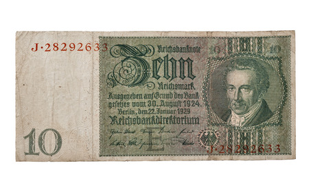 albrecht: 10 Reichsmark banknote 1929 front side with portrait of Albrecht Daniel Thaer macro isolated on white Stock Photo