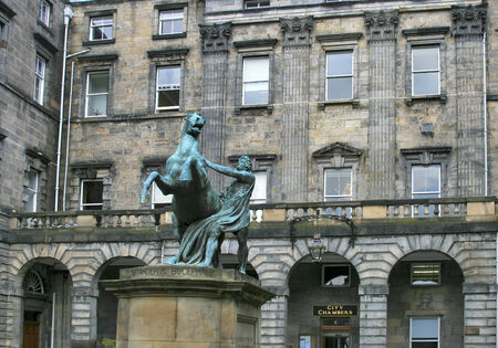 Alexander and Bucephalus by John Steell located in front of Edinburgh City Chambers. Modelled 1832, cast in bronze 1883.