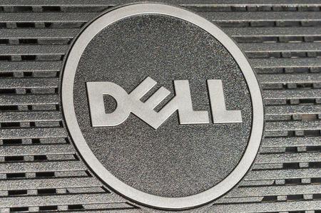 키예프, 우크라이나 - 7 월 14 일 디지털 평면 모니터 Dell Inc.의 뒷면 2014 델 로고 타입 근접 촬영 개발, 판매, 수리 및 컴퓨터 및 관련 제품과 서비스를 지