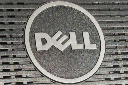 KIEV, UKRAINE - JULY 14, 2014  Dell logotype closeup back side of flat digital monitor  Dell Inc  is an American multinational computer technology company, that develops, sells, repairs and supports computers and related products and services
